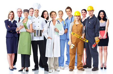 An image containing an ecclectic group of people with various professions, dressed accordingly but all with the common need for Labour Medicine